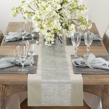 Eleni Metallic Silver Table Runner | 72-Inch