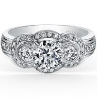 "Kirk Kara ""Charlotte"" Three Stone Halo Diamond Engagement Ring"