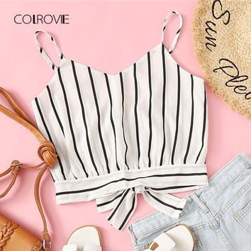 Striped Split Tie Back Crop Cami Top Women Casual Spaghetti Strap Bow Top Vest Summer Knot Beach Vest