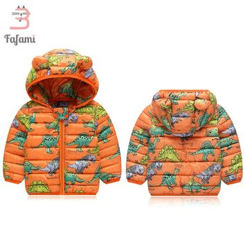 2018 New Baby Winter Coats Down Puffer Coat Cartoon Dinosaur Print Jacket kids Baby Clothes Hooded infant Snowwear For Boy Girls