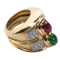 DAVID WEBB Cabochon Emerald Ruby Ring