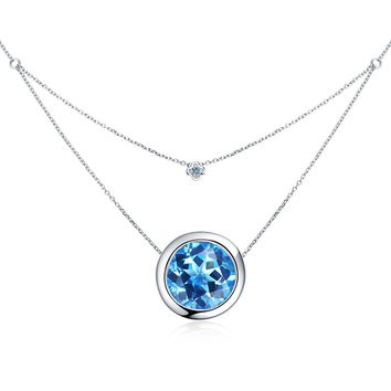 3.5ct Swiss Blue Topaz Birthstone Sterling Silver Double Layer Necklace