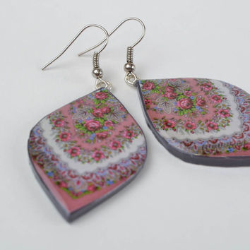 Handmade designer polymer clay decoupage earrings petal shaped with ornament