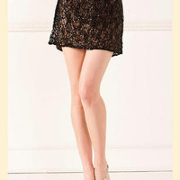 Sequin Lace Mini Skirt