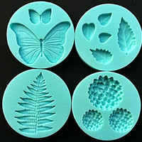 4 Pcs/set The combination of Leaves And Flowers Shapes 100% Food-grade 3D Silicone Cake Fondant Candy Chocolate Ice Molds Tools