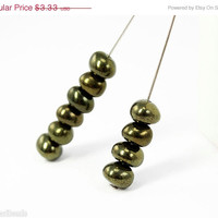 20% off SALE Green Bronze Czech Beads 6mm (30) Rondelle Glass Spacers Small Antiqued Look