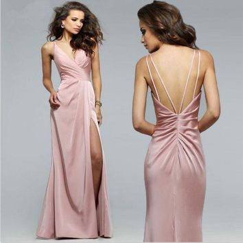 CREYIH3 The new deep V-neck was thin bridesmaid dress dress long female