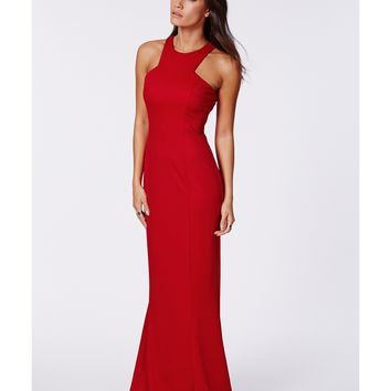 Missguided - Kaisa Crepe High Neck Maxi Dress Red