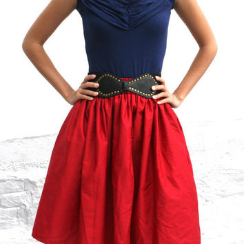 Full Aline Red Womens Skirt French Nautical Cotton by SevenBlooms