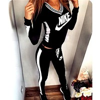 Winter Print V-Neck Sweatshirt Sweater Pants Sweatpants Set Two-Piece Sportswear clothes