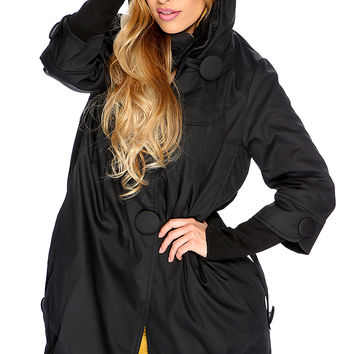 Black Button Up Hooded Cute Fall Coat