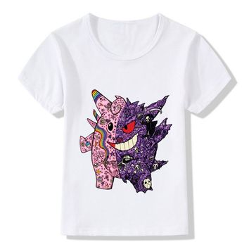 Children Cartoon Cute Clefairy And Genga Design Funny T shirt Kids  Go Clothes Boys and Girls Summer Tops,HKP5101Kawaii Pokemon go  AT_89_9