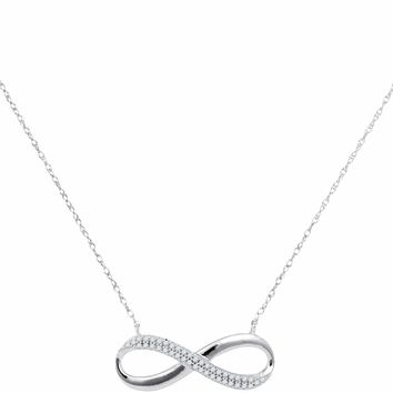 10kt White Gold Women's Round Diamond Infinity Pendant Necklace 1-8 Cttw - FREE Shipping (US/CAN)
