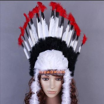 Indian Feather Headwear Carnival Headdress Halloween Party Feather Headband The Chief Villus Cosplay Costume Festival Accessory