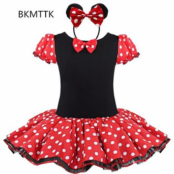 Fashion Minnie women's girl dress show, Minnie dress, children's polka dot dress, ballet girl dress