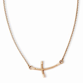 14K Rose Gold Large Sideways Curved Twist Cross Necklace 19 Inch