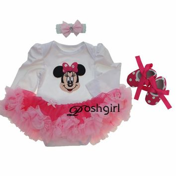 Baby Girl Clothing Sets Baby Minnie Mouse Long Tutu Romper Dress Jumpersuit+Headband+Shoes 3pcs Set Bebe First Birthday Costumes