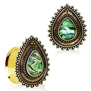 Gold Plated Ornate Teardrop WildKlass Plugs with Abalone Inlay