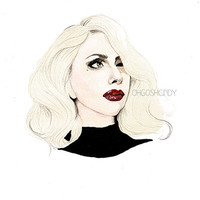 Lady Gaga watercolour portrait painting PRINT by ohgoshCindy
