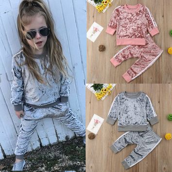 Free Shipping Autumn Winter Baby Clothes Set Sportswear Kids Baby Girls Velvet Long Sleeve Top Hoodie Pant Warm Children Clothes