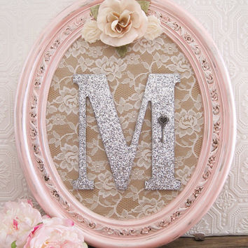Pink Nursery Decor Baby Wooden Letters Shabby Chic Hanging Wall