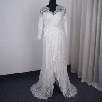 Open Front Wedding Dress Three Quarter Sleeve Lace Bridal Gown Unique Design