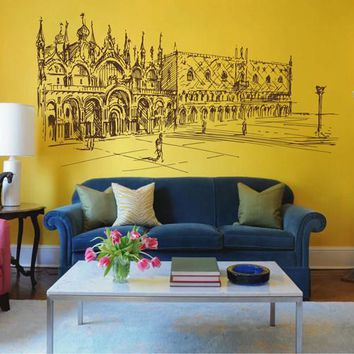 ik2529 Wall Decal Sticker St. Mark's Square venice italy city view bedroom living room