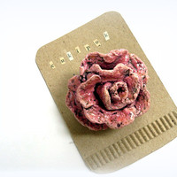 Ooak,paper mache rose pin,eco friendly rose,recycled paper rose,dusk pink rose brooch