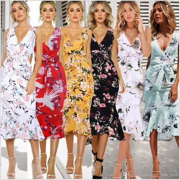 Hot Fashion Summer V-collar Ruffled OL Dress Women Floral Printed Girl Dress Beach Party Maxi Patchwork High Waist Skirt Dress 22021
