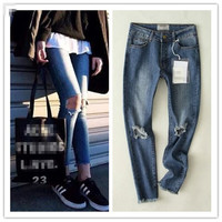 Stylish Summer Ripped Holes Rinsed Denim Jeans Cropped Pants [4919988420]