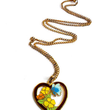 Vintage Enamel Heart Necklace - Butterfly Flower Design - Cloisonne Enamel - Heart Pendant - Gifts for Her - Yellow Orange Blue Burgundy