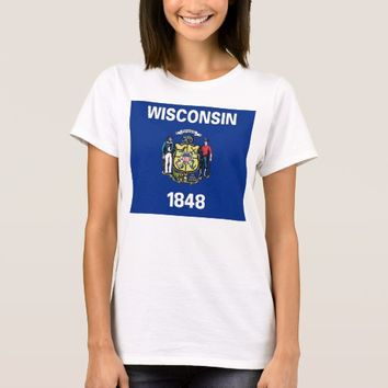Women T Shirt with Flag of Wisconsin State