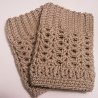 Crochet Boot Cuffs in Beige/Cream Choose Size, Other color options available Perfect Gift for Any Occasion -Boot Accessory