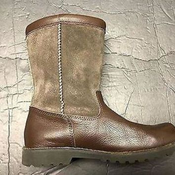 CREY1O Brand New UGG Australia Girl's Boy's Wool Lining Brown Leather Tall Boot US 3