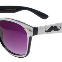 Novelty Glasses~ Party Rock Glasses~ Eyebrow Glasses~ Retro Neon Sunglasses~ Choose Your Color & Style!! (Mustache Logo White)