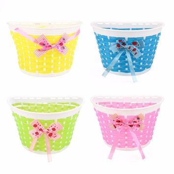 Outdoor Bicycle Bags Panniers Bowknot Front Basket Bicycle Cycle Shopping Stabilizers Basket For Children Kids Girl