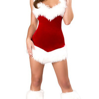Christmas Hooded Mini Dress Costume Set