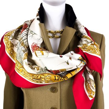 Hermes Silk Scarf L'Hiver Red Colorway Early Issue
