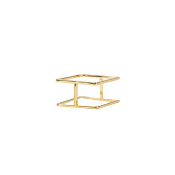 Double Square Bar Ring - Gold