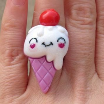 Kawaii Ice Cream with Cherry Lavender Cone Ring