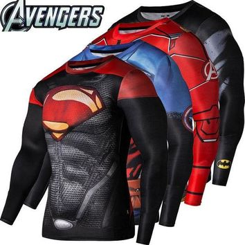 PEAPUNT 2016New Sport Wear Fitness Compression Shirt Men Superman Captain America Batman Spiderman Iron Man Sport T-shirt Fitness Wear