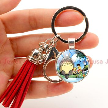 New Arrival Cute Japanese Anime Gray My Neighbor Totoro tassel Keychain glass dome picture  Figures Pendants Key Chains