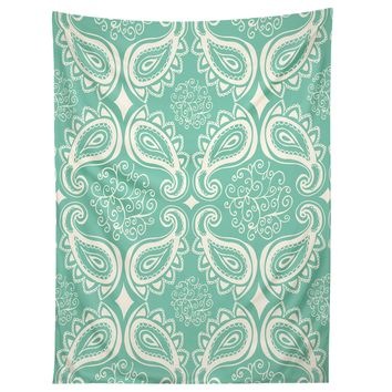 Heather Dutton Plush Paisley SeaSpray Tapestry