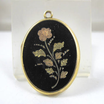 Antique Black Enamel Mourning Locket, Victorian Oval 10K Tri Color Gold Forget Me Not Flowers, Picture Photo Locket