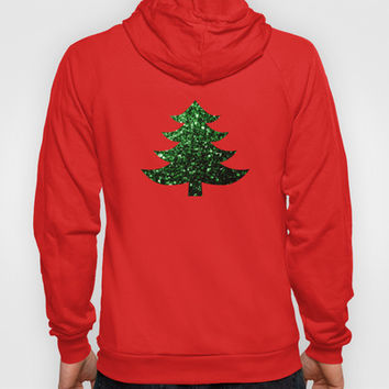 Christmas tree green sparkles Hoody by PLdesign