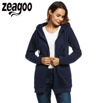 Zeagoo Hoodies Coat Women Winter Autumn Warm Fleece Coat Zip Up Outerwear Hooded Sweatshirts Casual Long Jacket with Pocket