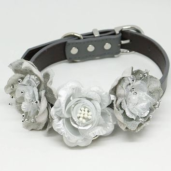 Silver and Gray Flower dog collar, Floral Silver wedding, Pet Burlap accessory