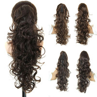 "20"" Long Fake Hair Ponytails Sex Apply Hair Extension Synthetic Claw Drawstring Hairpiece False Hair Pony Tail Tress Hairpieces"