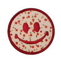 3 IN Smiley Happy Smile Face Flowered Pnk Embroidered Iron On Applique Patch FD