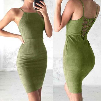 Women Ladies Velvet Backless Bodycon Strappy Dress Bandage Party Evening Dresses